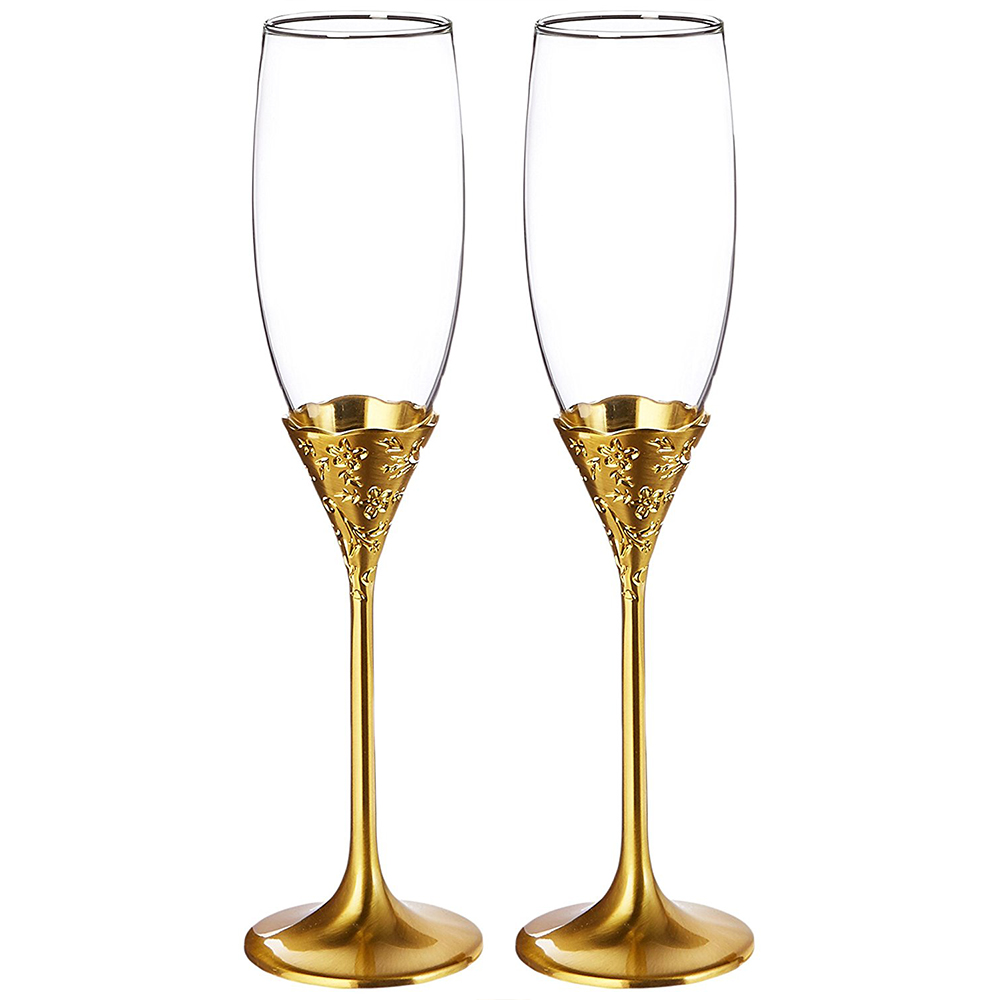 """This Placesetting Is To Die Gold Charger Champagne: Sektgläser Set """"Gold Flower"""""""