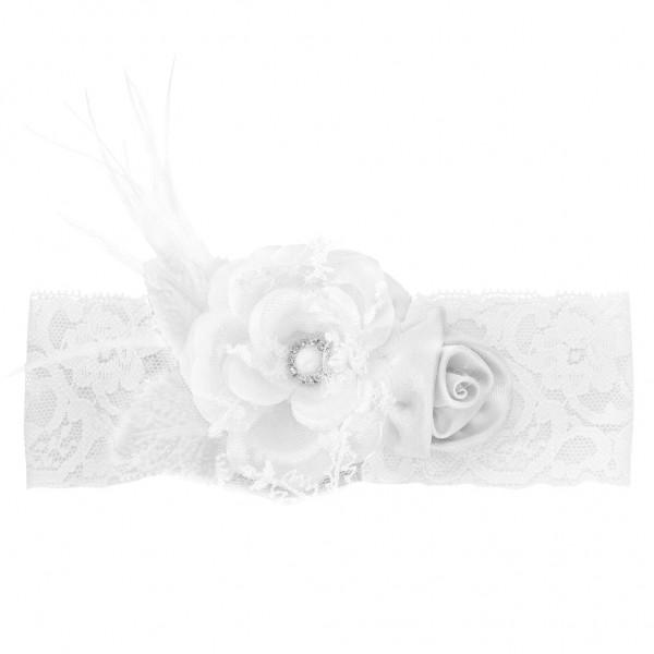 best value e6f22 75b45 Strumpfband Weiß Spitze Blume
