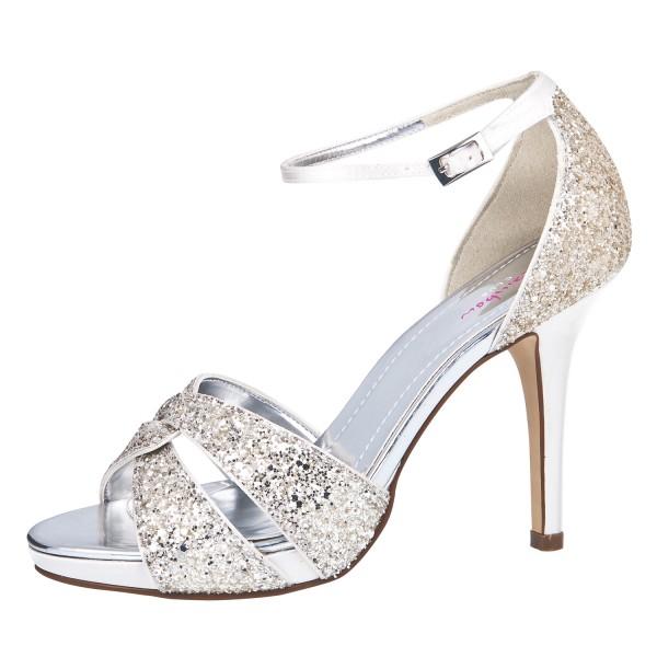 Brautschuhe Charlotte SALE% in ivory Satin und silber Glitter und 10 ...